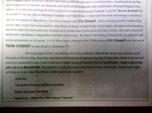 "This excerpt from a full-page ad in the 11/1/13 New Britain City Journal on behalf of the Stewart Mayoral campaign says ""paid for"" by the CTPOA but no expenses were reported for the ad."