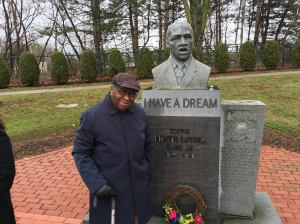 New Britain's Alton Brooks at the city's MLK Park with members and friends of the Mary McCloud Bethune Club on April 2nd. (Photo courtesy of Brian Riley)