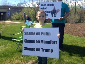 Ukrainian Americans of all ages protested involvement of Paul Manafort in Presidential politics in New Britain on April 23rd
