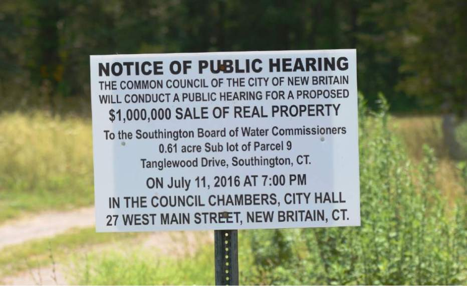 Hearing Notice near Patton Brook Well (photo: www.myrecordjournal.com)