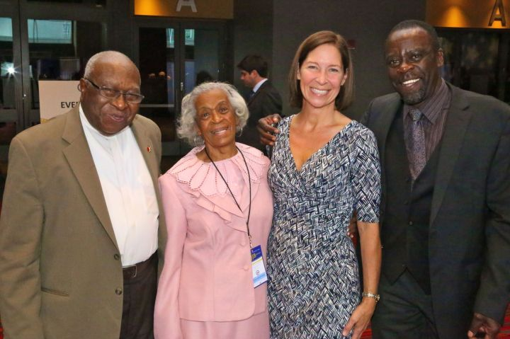 At Democratic dinner: from left Alton Brooks, Emma Pierce Susan McKinley Perry and Art Perry (Gerratana photo)