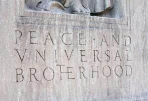 Inscription at Memorial to New Britain 19th century peace activist Elihu Burritt in Franklin Square.